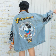 Disney Mickey Mouse Personality Beaded Sequin Denim Jacket Ladies Youth High Street Loose and Thin Western Style Jacket Top