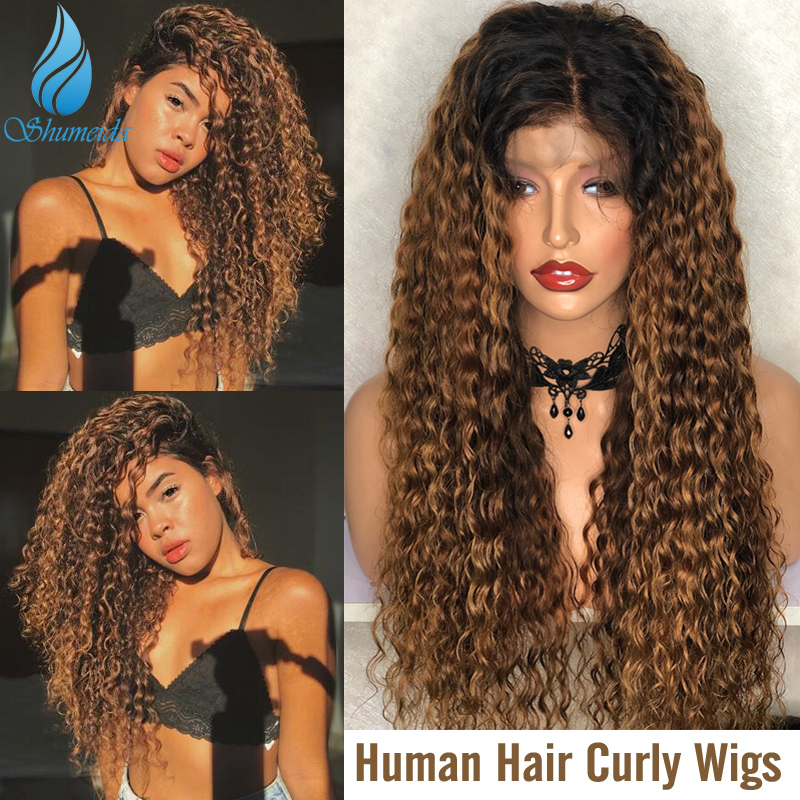 SMD 13*6 Ombre Color Curly Lace Front Wigs With Baby Hair 150% Density Brazilian Remy Human Hair Glueless Lace Wigs