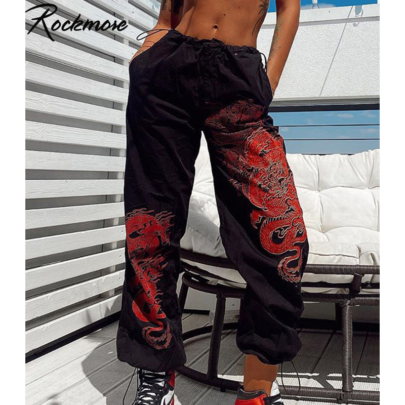 Rockmore Double Dragon Printed Wide Leg Pants Trausers Women Plus Size Pockets Drawstring High Waisted Joggers Casual StreetWear