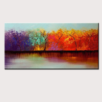 Large Size Hand Painted High Quality Home Decoration Wall Art Oil Painting On Canvas Modern Abstract Landscape Tree Paintings