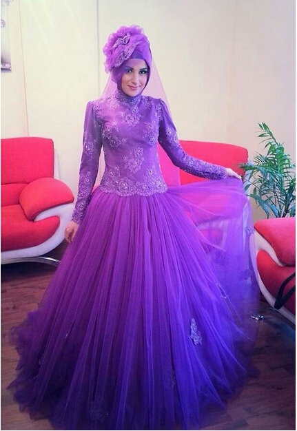 Style Purple Lace Long Sleeves Muslim Arab Bridal Gowns From Turkey 2018 Beaded Colored Ball Gown Mother Of The Bride Dresses