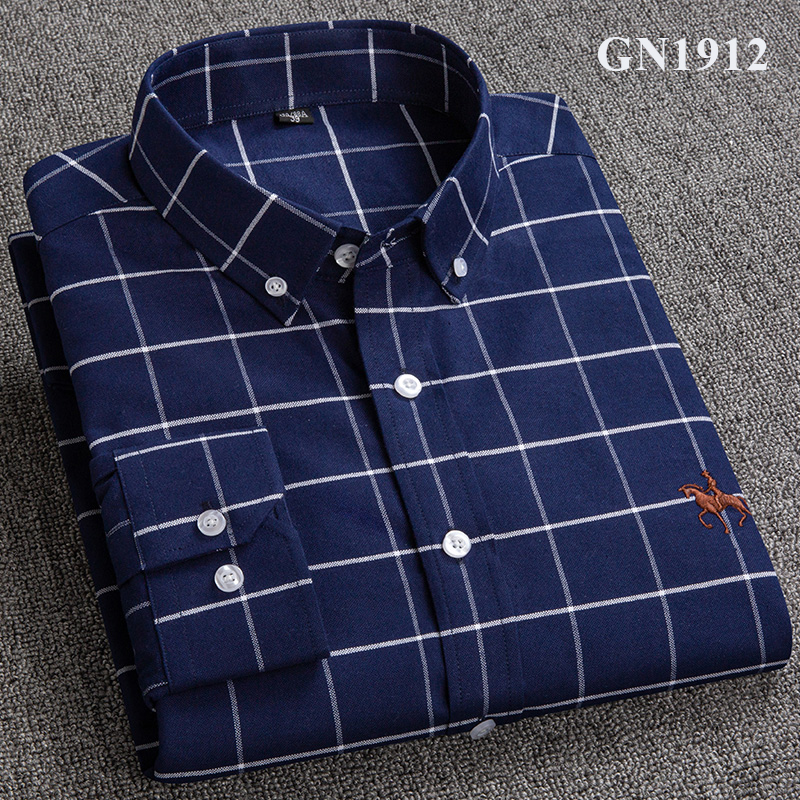 S-6XL Plus size New  OXFORD FABRIC 100% COTTON excellent comfortable slim fit button collar business men casual shirts tops 18