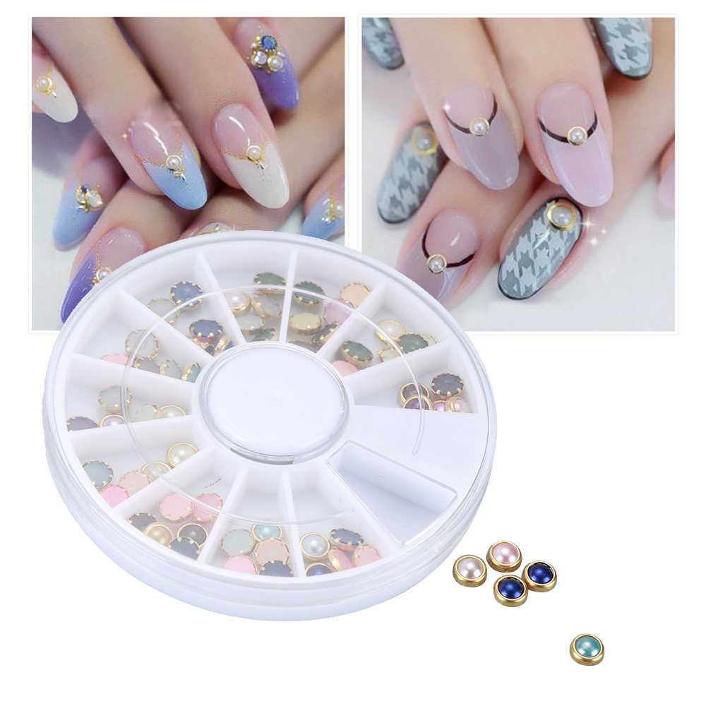 FAI DA TE Bella New Nail Sticker 3D Unghie artistiche Suggerimenti Decor Sticker Misti Forma di Mezza Rotonda Della Perla Del Cuore Molti di Colore + Ruota decorazione del chiodo
