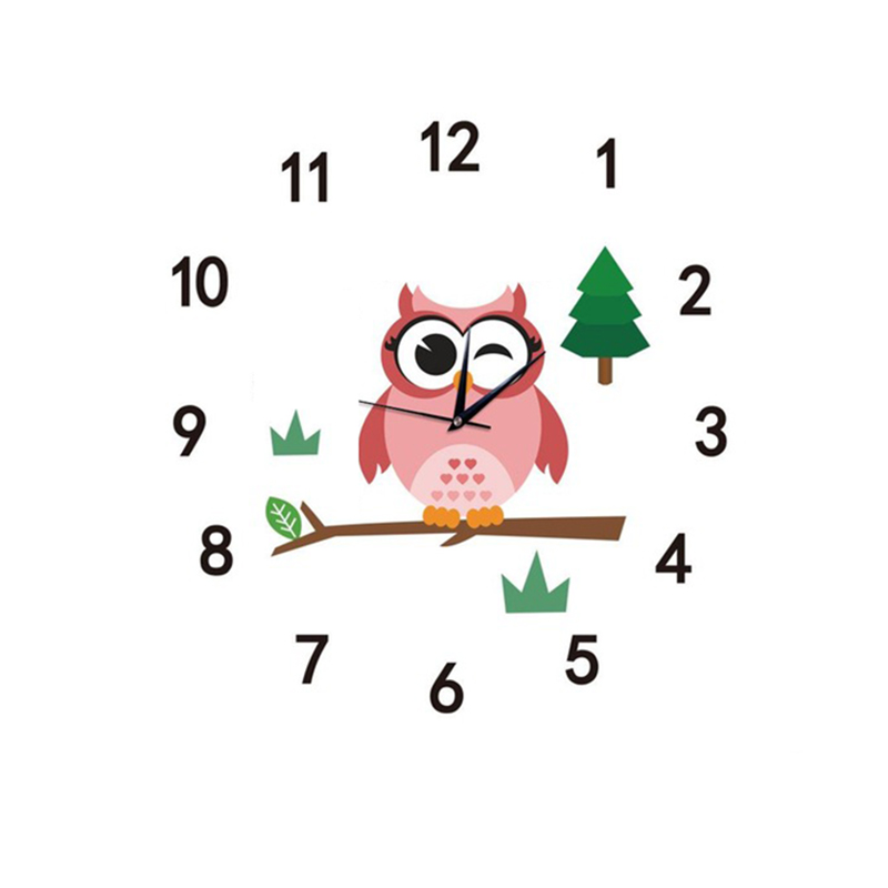 Kids Wall Clock Kids Clocks For Children Room Cartoon Owl Quartz Mute Owl Watches Nordic  In The Child Room Horloge