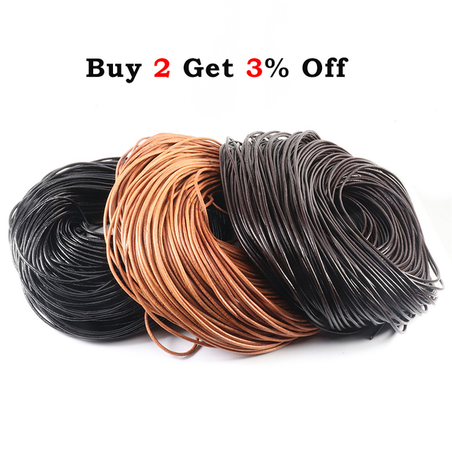 2-5 Meters 100% Genuine Cow Leather Round Thong Cord Leather Cord String Rope for DIY Necklace Bracelet DIY Jewelry Making 2
