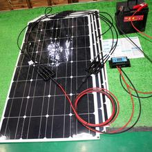 solar panel home system 400w  off grid system 100w 4pcs flexible mono solar cell with controller for house marine rv off grid system 200w power charge 100w mono solar panel w combiner box