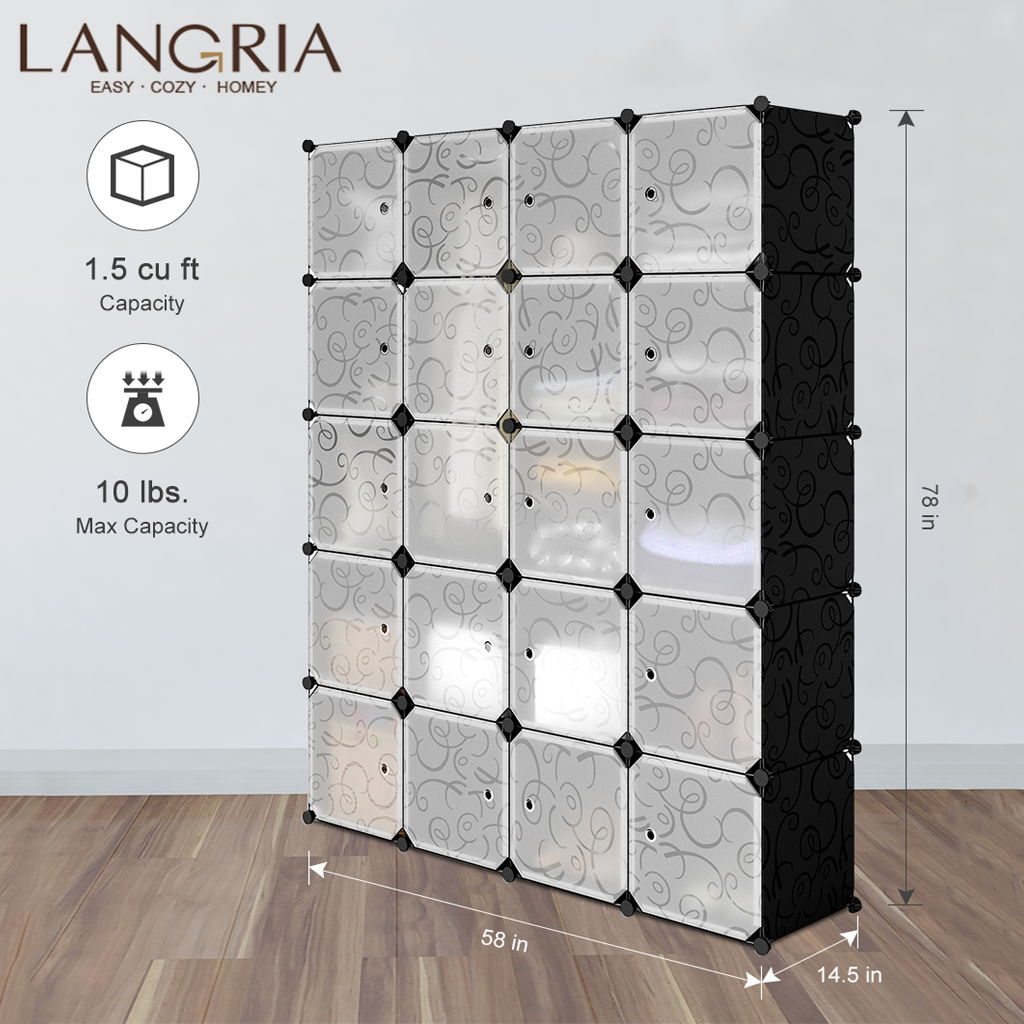 LANGRIA 20 Cube DIY Modular Storage Closet Wardrobes Plastic Cube Mutiluse Freely Assembled Oragnizer Closet Cabinet Embossing