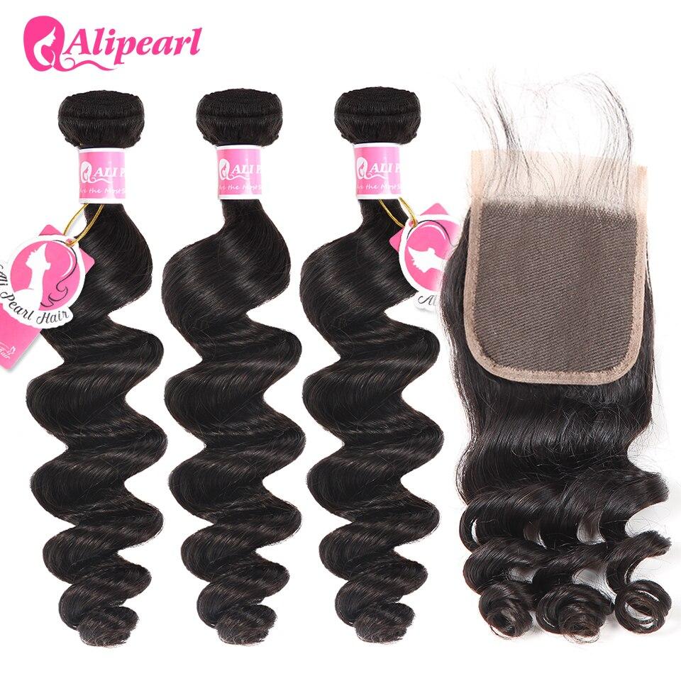 AliPearl Hair Loose Wave Bundles With Closure Brazilian Hair Weave 3 Bundles Natural Color Human Hair Remy Hair Extensions
