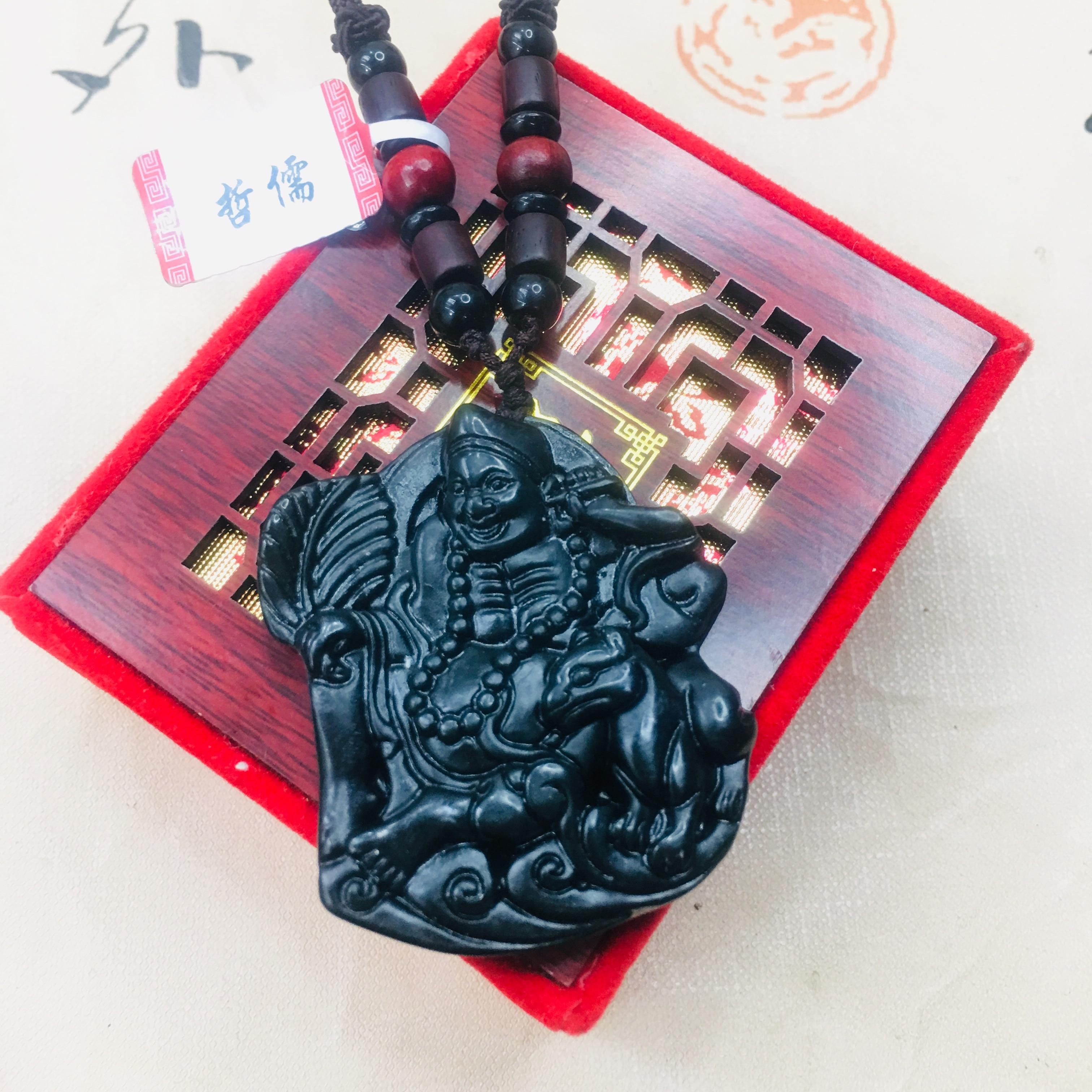 Zheru Natural And Tian Moyu Carved Living Buddha Jigong Pendant With Wooden Bead Necklace Beautiful Men And Women Sweater Chain