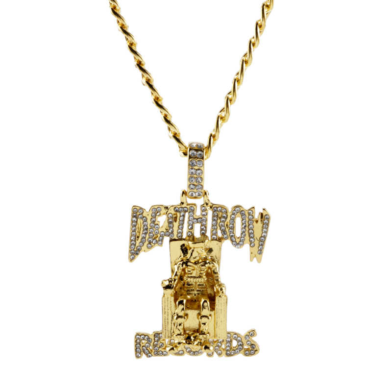 Hip Hop Cubaanse Ketting Ketting Death Row Records Hanger Iced Out Bling Strass Streetwear Chain Kettingen Sieraden Voor Rapper