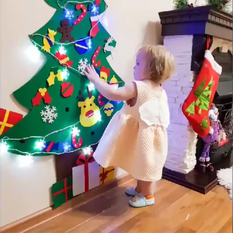 LED Light Felt DIY Artificial Christmas Tree Mini Christmas Tree Navidad gift 2020 New Year Christmas xmas Decoration for home in Pendant Drop Ornaments from Home Garden