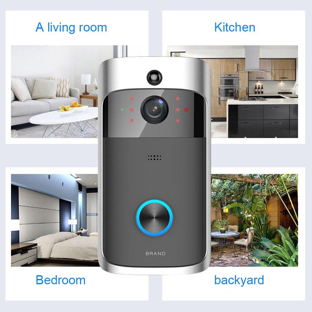 Sans fil WiFi vidéo sonnette téléphone intelligent porte anneau interphone maison sécurité caméra cloche FKU66