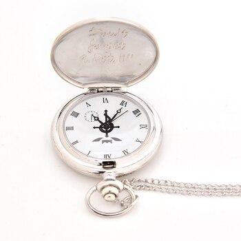 High Quality Full Metal Alchemist Silver Watch Pendant Men's Quartz Pocket Watches Japan Anime Necklace Children Boy