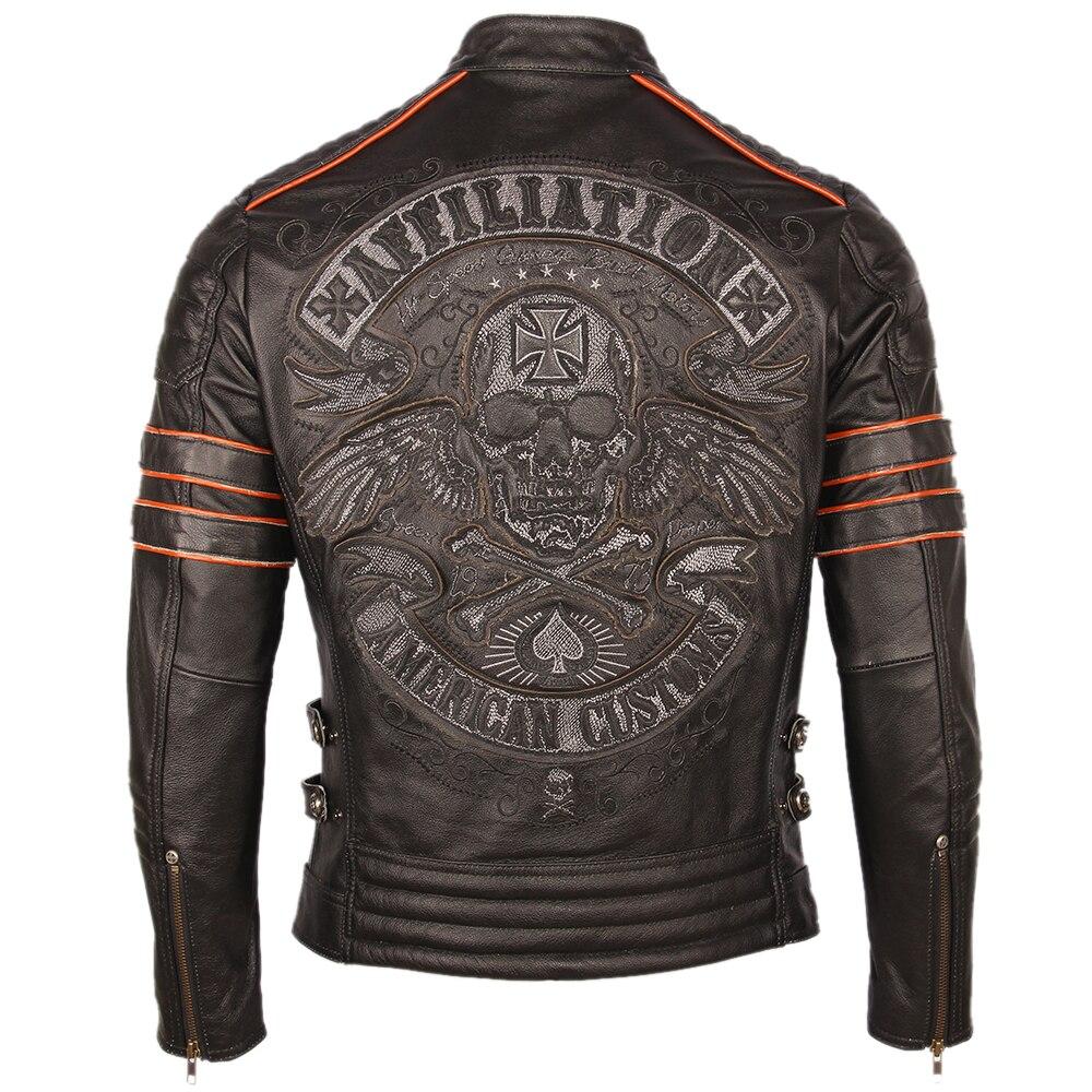 H1ff6c6501ac34e81b44724a4f76b371cJ Black Embroidery Skull Motorcycle Leather Jackets 100% Natural Cowhide Moto Jacket Biker Leather Coat Winter Warm Clothing M219