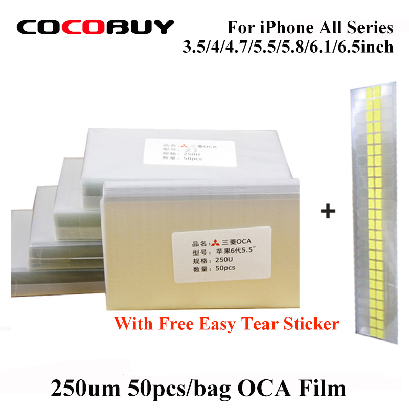250um 50pcs/lot OCA Optical Clear Adhesive  For IPhone 4 5 6 6s 7 8 Plus X XS Max XR OCA Film LCD Laminating OCA Glue