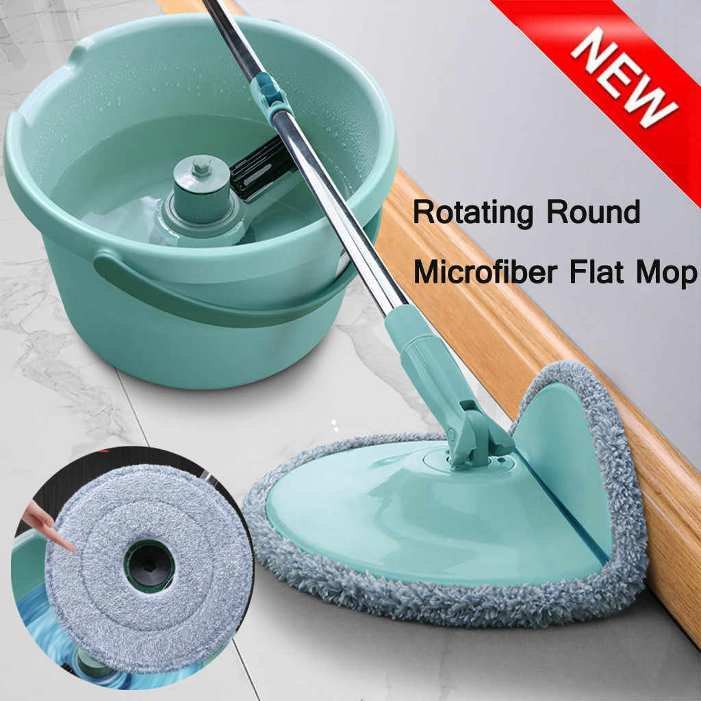 A Set Easy Magic Floor Mop 360 Bucket Microfiber Spin Spinning Rotating Head Magic Mops Set Bathroom Cleaning Tool