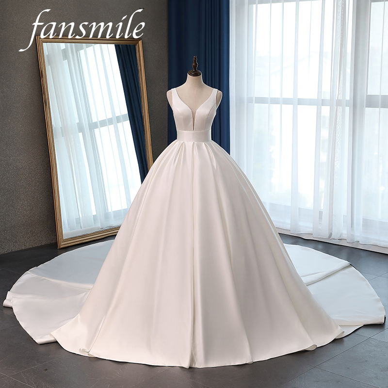 Fansmile Satin Vestido De Noiva Elegant Wedding Dress Corset 2020 Long Train Bridal Ball Gowns Plus Size Customized FSM-047T