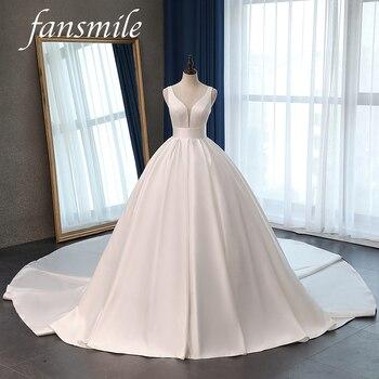Fansmile Satin Vestido de Noiva Elegant Wedding Dress Corset 2020 Long Train Bridal Ball Gowns Plus Size Customized FSM-047T - discount item  30% OFF Wedding Dresses