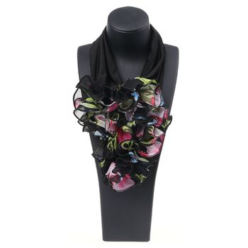 Women Floral Collar Scarf Luxury Flower Printed Neckerchief Ring Neck Scarves - discount item  21% OFF Scarves & Wraps