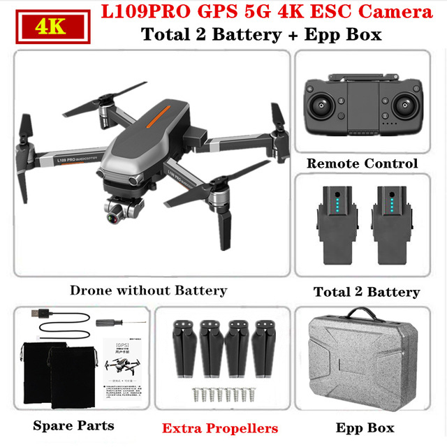 L109 PRO GPS 5G WIFI 4K 2 batteries With EPP Box