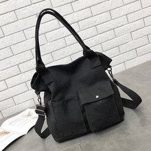купить Brand Large Pocket Casual Tote Unisex Fashion Solid Soft Casual Totel Bag Canvas Bag Messenger Bag Shoulder Bag bolso mujer #YL5 по цене 256.62 рублей