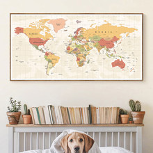 Modern World Map Canvas Painting Posters and Prints Quadros Wall Art Picture for Living Room Home Decoration Cuadros