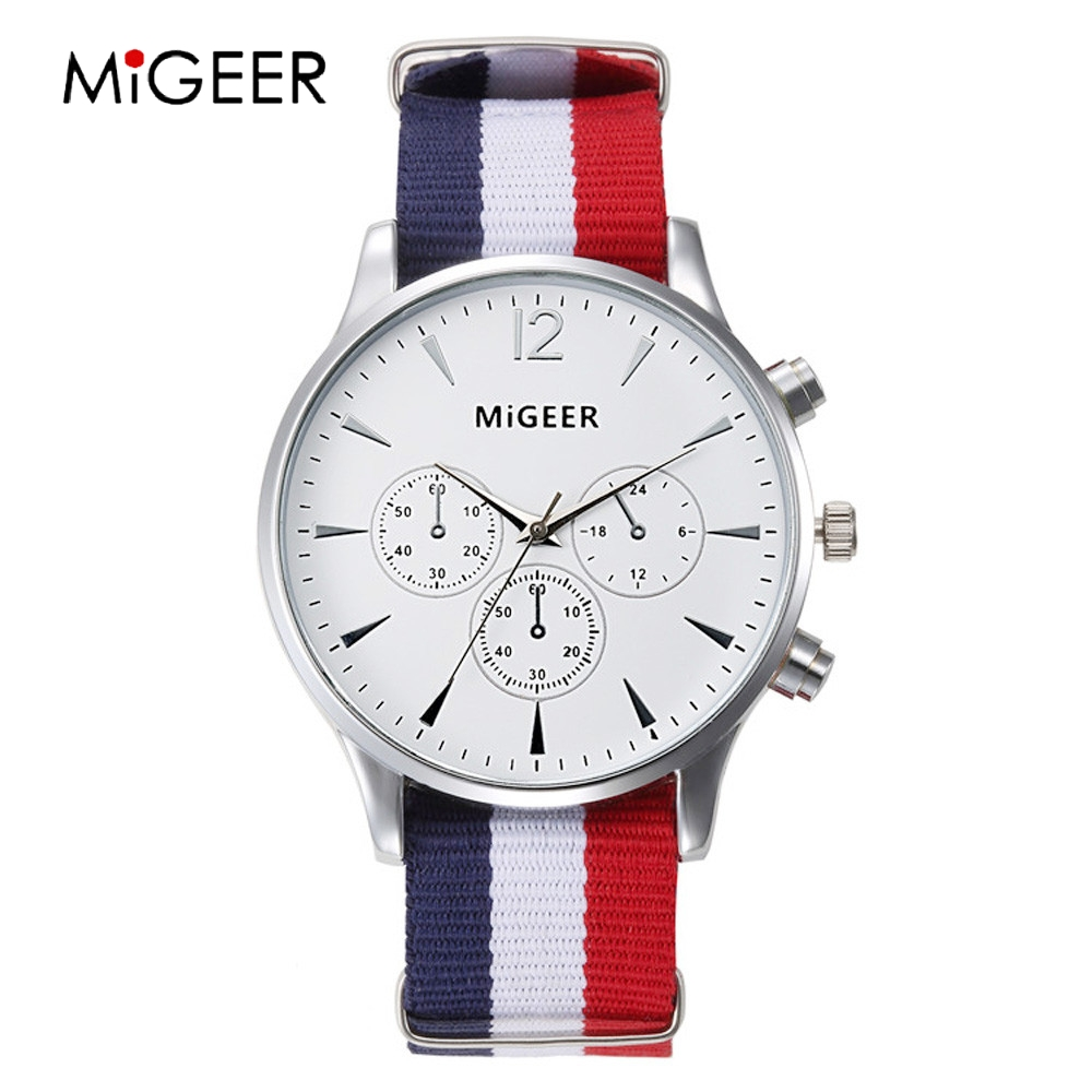 MIGEER Fashion Simple Watch Couple Fabric Watches Women Men Big Dial White Couple Watches Quartz Wristwatches Relojes Pareja
