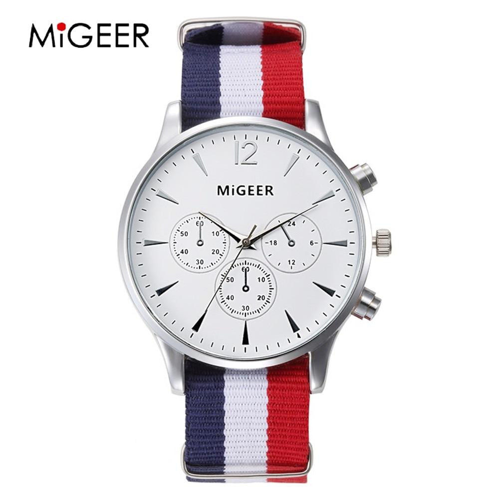 MIGEER Fashion Simple Watch Couple Fabric Watches Women Men Big Dial White Couple Watches Quartz Wristwatches Relojes Pareja