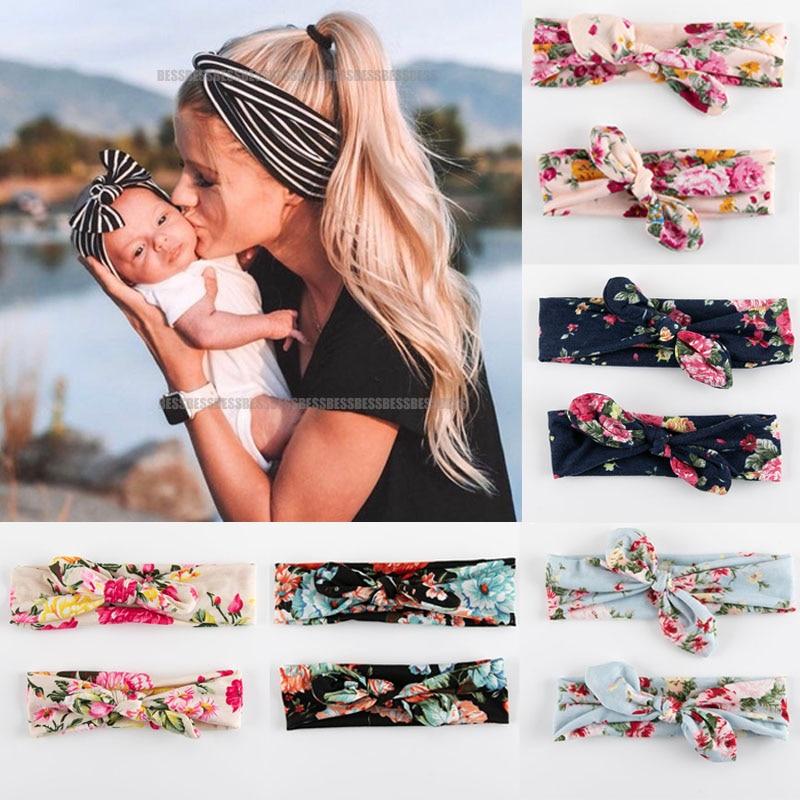 2 pièces velours coton mère et bébé bandeaux enfants fille Bow lapin oreille imprimer bandes de cheveux floraux Parent-enfant accessoires de cheveux