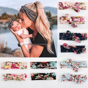 2PCS velvet cotton  Mother & Baby Headbands Kids Girl Bow rabbit ear Print Floral Hair Bands Parent-Child Accessories - discount item  28% OFF Headwear