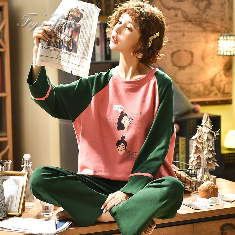 Women pajamas sets loose casual housewear T shirt with long trousers cotton sleepwear pijama feminino 52