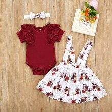 Осень Одежда для новорожденных девочек, комплекты из 3 предметов, комбинезон с цветочным принтом, топы с длинными рукавами платье с цветочны...