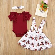 Комплект осенней одежды для новорожденных девочек Комплекты одежды из 3 предметов, комбинезон с цветочным принтом, топы с длинными рукавами...