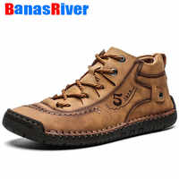 2020 Leather Men Casual Shoes Comfortable Fashion Walking Big Size Brown Black Soft Flats Outdoor Fashion High Quality Footwear