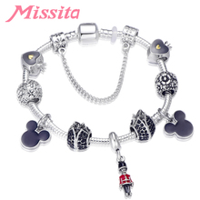 MISSITA Fashion Jewelry Silver Plated Charm Bracelet with Lovely Mickey Beads Brand for Women Anniversary Gift