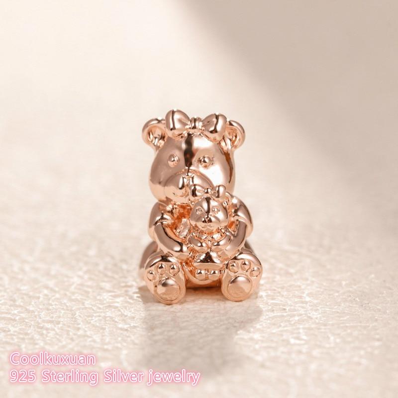 Mother S Day 100 925 Sterling Silver Dora Bear Charm Rose Gold Beads Fits Original Pandora Bracelets Jewelry Making Beads Aliexpress