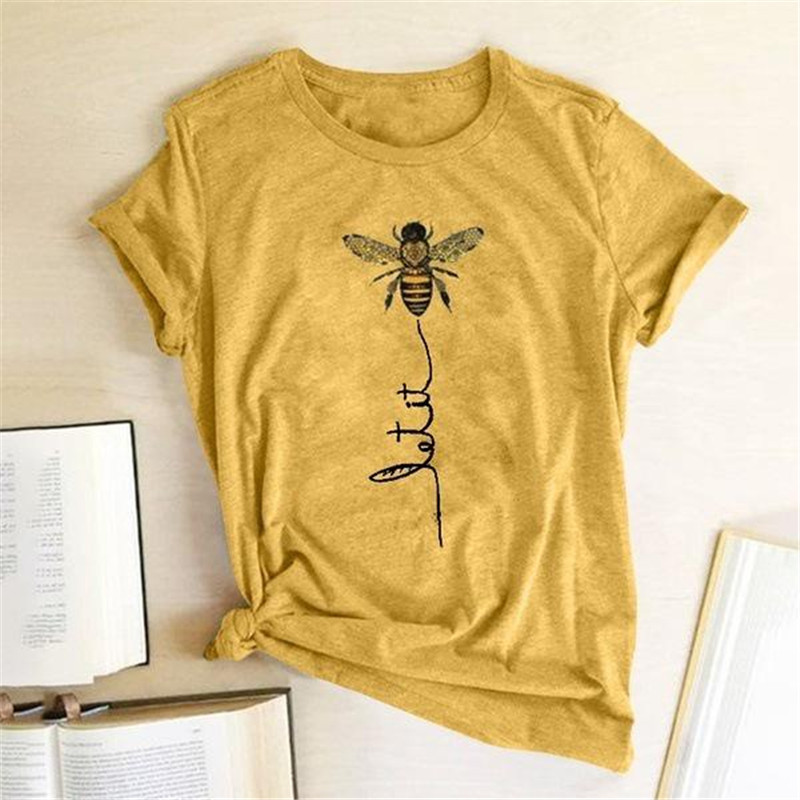 Summer <font><b>Women</b></font> Bee Printed T-shirt <font><b>Casual</b></font> Round Neck Cute <font><b>Tee</b></font> <font><b>Fashion</b></font> <font><b>Graphic</b></font> Design Short Sleeve Slim Cotton T-shirts 2020 New image