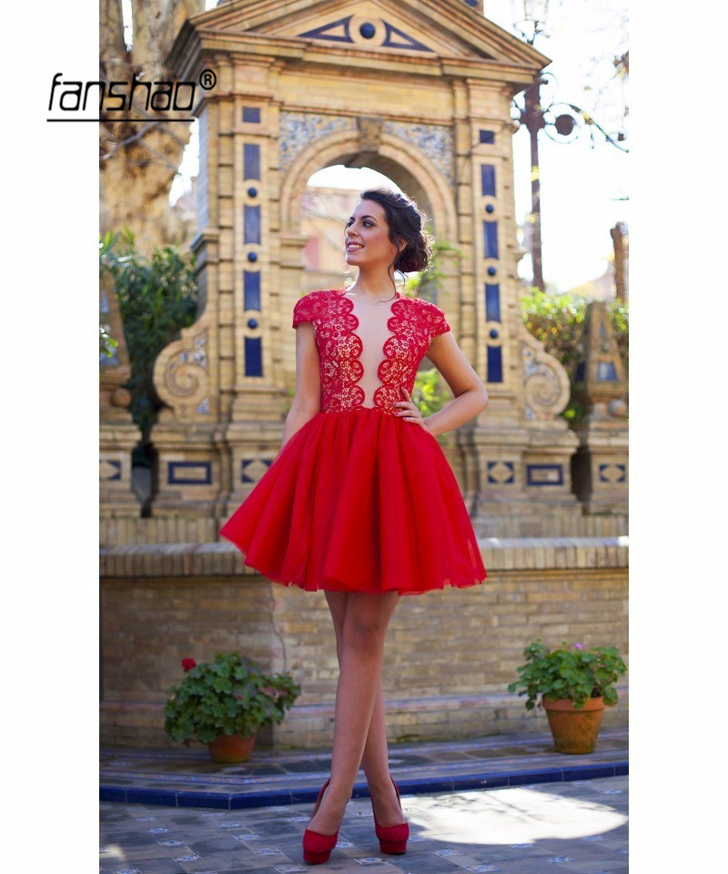 Red Deep-V Cap Sleeve Elegant Homecoming   Dresses   Applique Backless Short Mini Tulle Lace Beaded Party Plus Size   Cocktail     Dresses