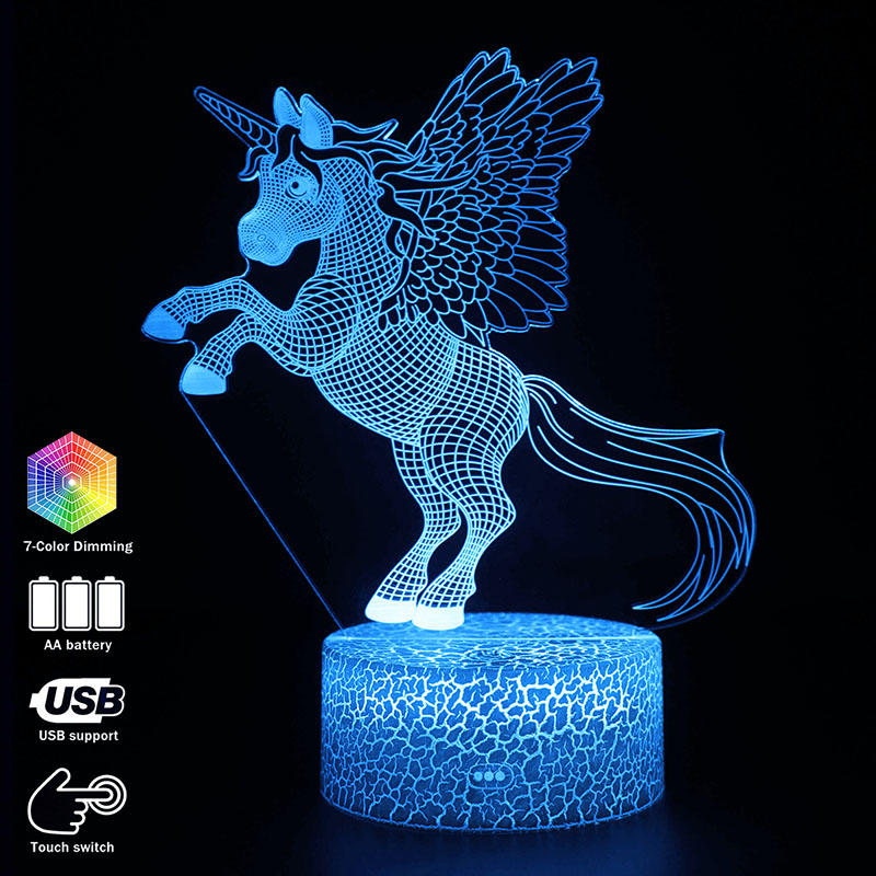 3D Illusion Night Lights Unicorn Model Touching LED Lamps Kids Bedroom Decor Rainbow Horse Lights With Remote Control