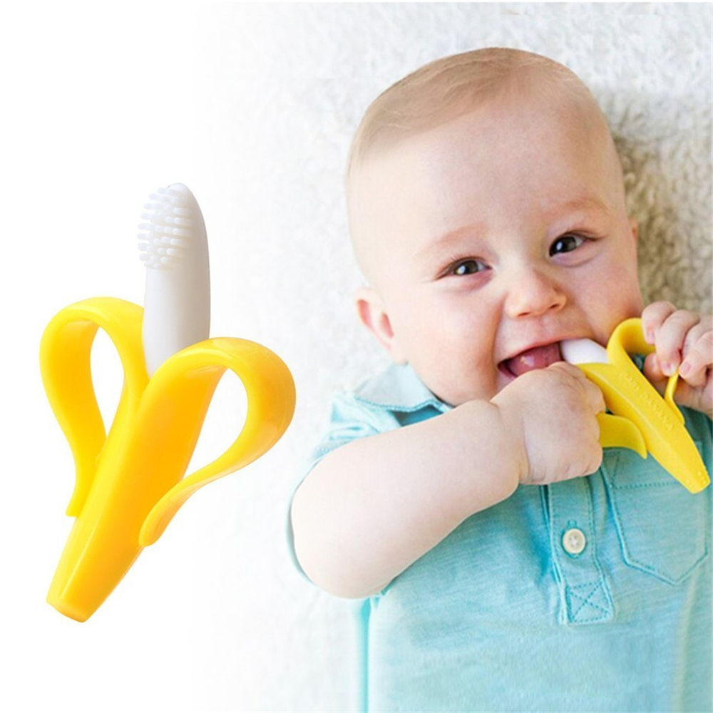 Safe Baby Teether Toys Toddle BPA Free Banana Teething Ring Silicone Chew Dental Care Toothbrush Nursing Beads Gift For Baby image