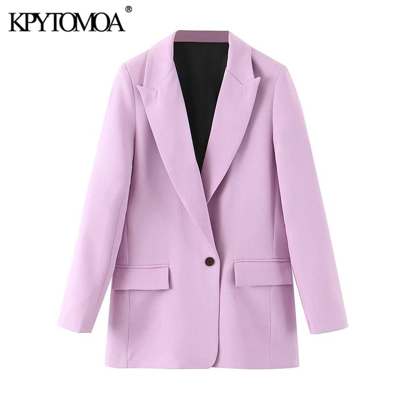 KPYTOMOA Women 2020 Fashion Office Wear Pockets Blazers Coat Vintage Notched Collar Long Sleeve Female Outerwear Chic Tops