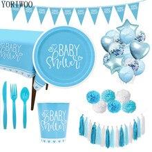YORIWOO – vaisselle jetable pour fête prénatale, pour garçon et fille, pour révéler le sexe de l'enfant