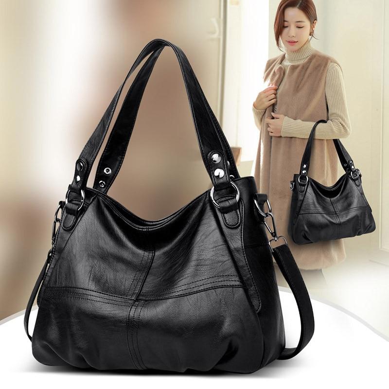 Image 5 - Womens Genuine Leather Handbag Large Leather Designer Big Tote  Bags for Women 2019 Luxury Shoulder Bag Famous Brand HandbagsShoulder  Bags