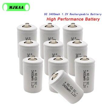 10 sztuk SC 1.2V 3400mah akumulator 3400mAh 4/5 Sub C ni-cd komórka z zakładkami spawania do wiertarki elektrycznej śrubokręt