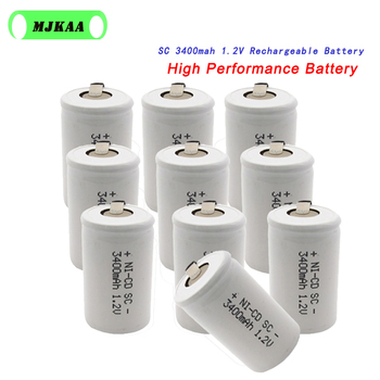 10Pcs SC 1.2V 3400mah Rechargeable Battery 3400mAh 4/5 Sub C Ni-cd Cell with Welding Tabs for Electric Drill Screwdriver image