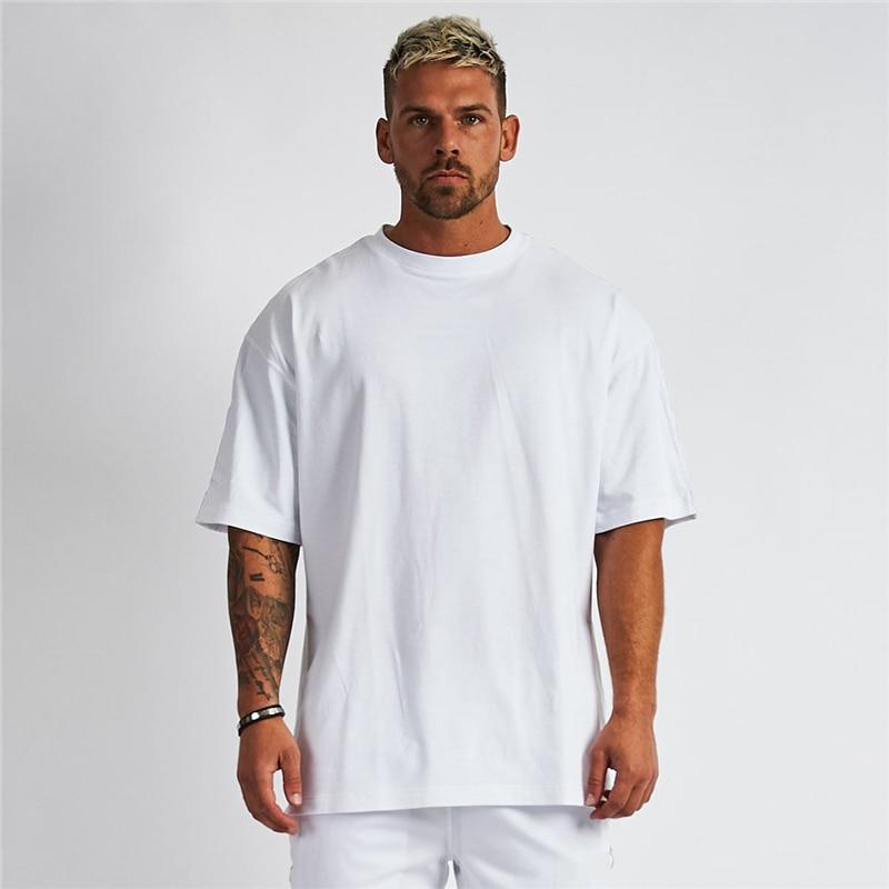 Однотонная футболка оверсайз, мужские топы для бодибилдинга и фитнеса, повседневный стиль, спортивная одежда, футболка, Мужская свободная у...