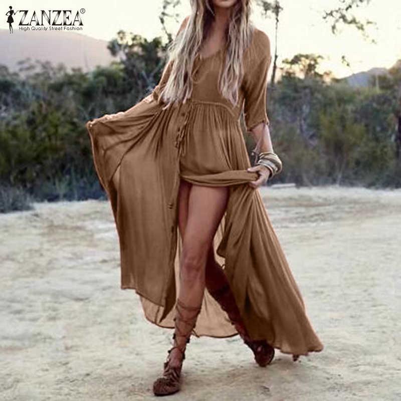 ZANZEA ฤดูร้อนผู้หญิงโบฮีเมียนครึ่งแขนแยกชุด Maxi หญิงปุ่มยาวสบายๆ Vestido 7
