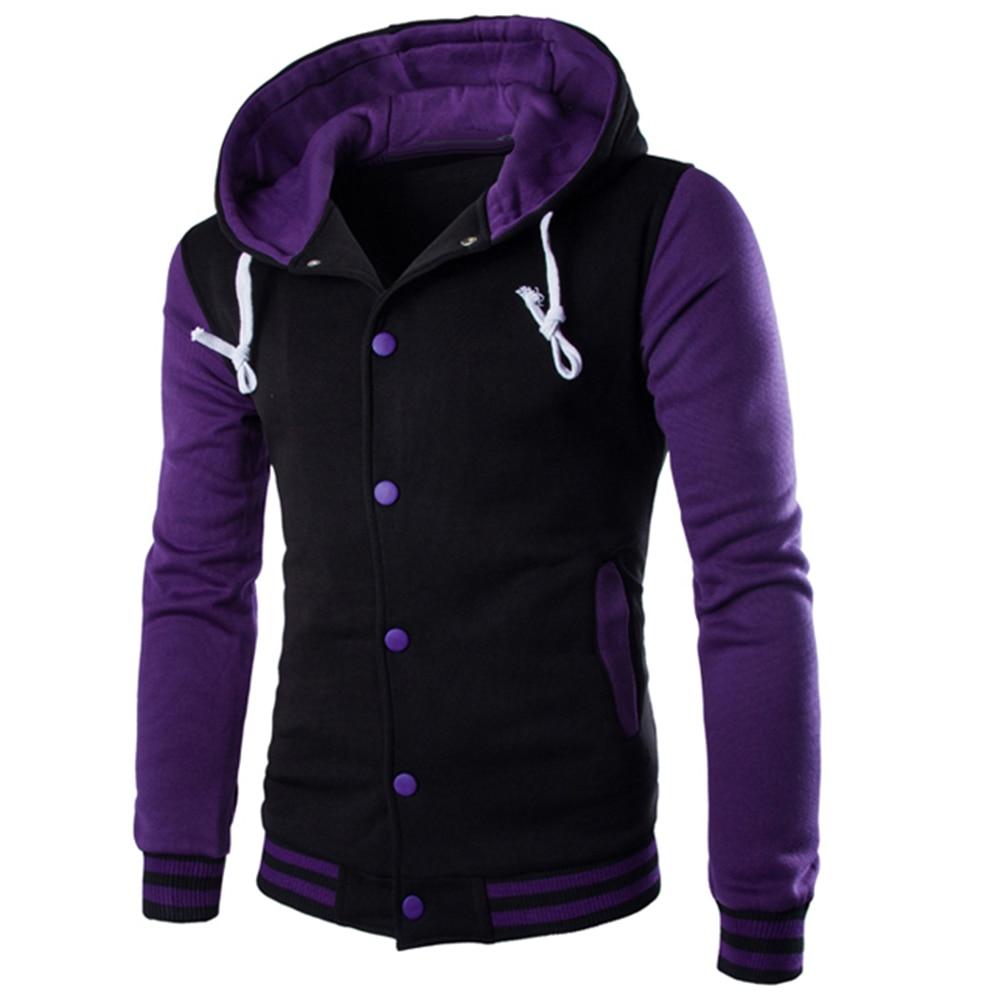hoodie  Men Fashion Contrast Baseball Wear Casual hoodies  Button Cardigan Pocket Long Sleeve Jacket ropa hombre talla grande 4