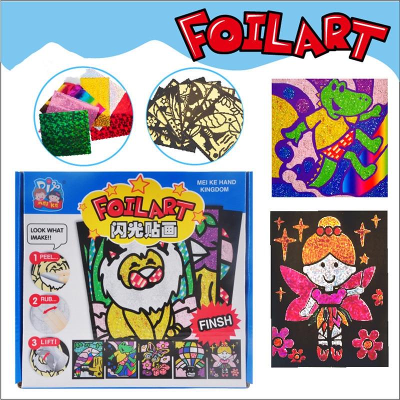 Kindergarten Lots Arts Crafts Diy Toys Colorful Paper Flash Sticker Crafts Kids Educational For Children's Toys Girl/boy Gift