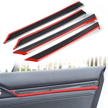 8Pcs Carbon Fiber Style Interior Door Trim Decals Cover ABS For Honda Civic 10th 2016 2017